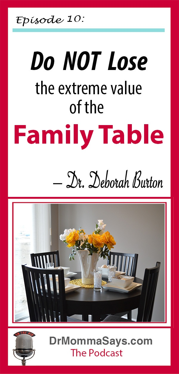 Dr. Burton highlights the history of family gatherings around the kitchen table and reminds parents everywhere that the family table has extreme value.